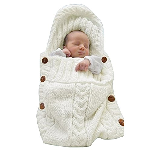 XMWEALTHY Newborn Baby Wrap Swaddle Blanket Knit Sleeping Bag Sleep Sack Stroller Wrap for Baby(Beige) (0-6 Month) Crochet Baby Blanket