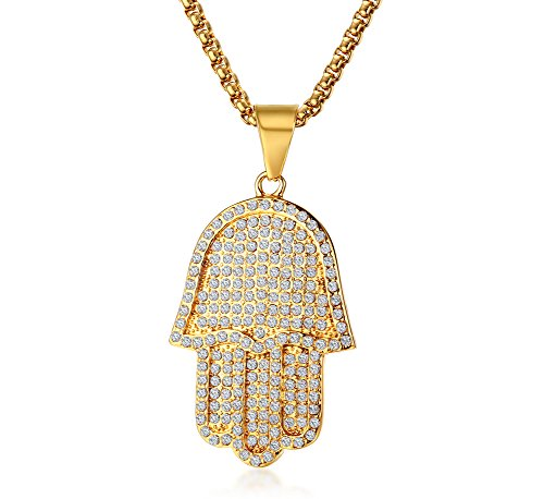 (Stainless Steel Crystal Iced Out Fatima Hand Hamsa Charm Pendant Necklace Amulet Jewellery Men)