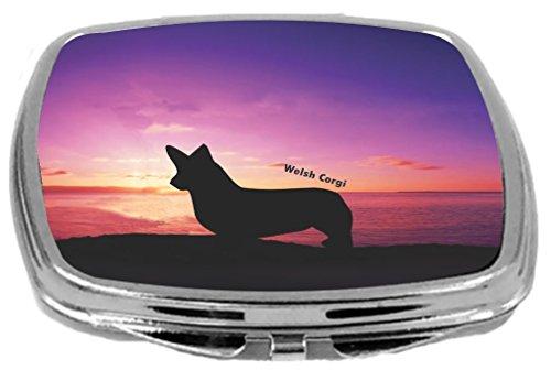 Rikki Knight Welsh Corgi Dog at Sunset Design Compact Mirror
