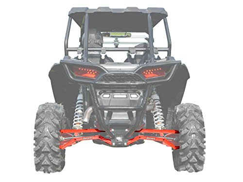 SuperATV Heavy Duty High Clearance Boxed Rear Radius Arms/Rods for Polaris RZR XP 1000 / XP 4 1000 (2014+) - Red