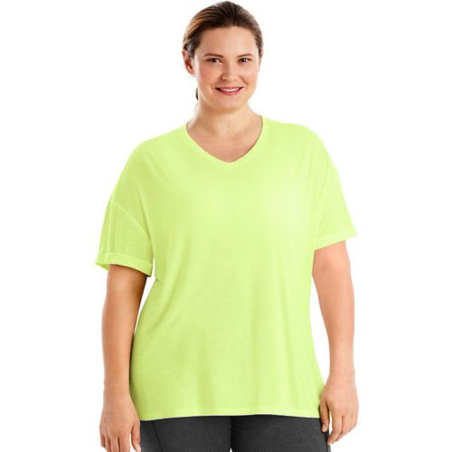 Just My Size Women's Plus Size Mesh Yoke Tee, Washed Lime, 4X