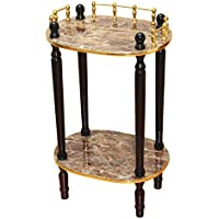 Uniquewise(TM) 2-Tiered Telephone Table, Gold Marble and Cherry Finish (Gold Marble)