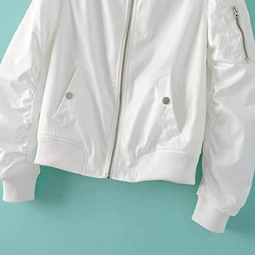 Bianca Lunga Monocromo Manica Moda Jacket Vita Pilot Giacca Alta Cappotto Elegante Donna Con Biker Di Collo Bomber Autunno Stlie Corto Coreana Cerniera Grazioso 4ww0zqB