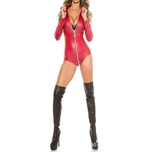 B Dressy Sexy Underwear Bright Patent Leather Jumpsuit Pole Dance Nightclub,XX-Large,Red - Zarin Spice