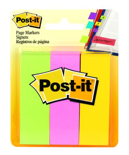 Post-it Page Markers, 1 in x 3 in, Ideal for Temporary Marking And Noting In Books, Assorted Colors, 100 Sheets/Pad, 3 Pads/Pack (5487)