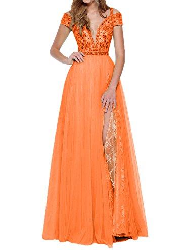 Tanzenkleider Damen Charmant Lang Tief V Abschlussballkleider Promkleider Traeger Orange Ausschnitt Abendkleider 7qB4wd8qC
