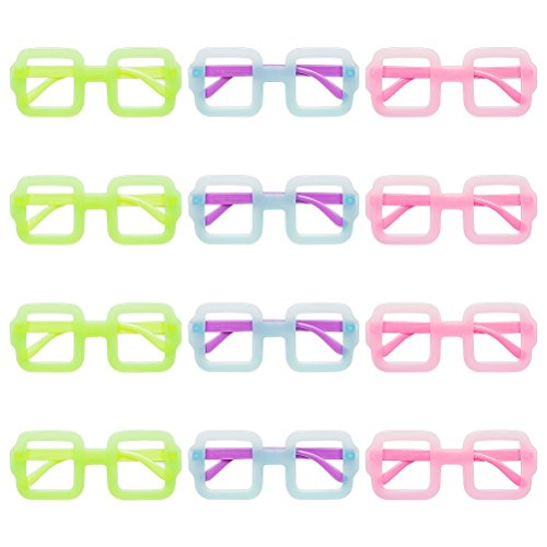 ModestLuxury Party Eye Glasses Colorful Cute Wide Frame Eyeglass Props Favor Costume for Kids Women Wedding Thanksgiving Holiday Decorations, 12 Pack - Eye Frames Kids For Glass