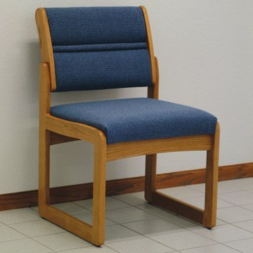 - DMD Office and Waiting Room Armless Guest Chair, Medium Oak Wood with Wine Vinyl Upholstery