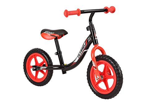 Tetran Kids -12 Inch Balance Bikes, Ages 2 to 5, Multi-Colors for Boys and Girls (Black/Red) ()
