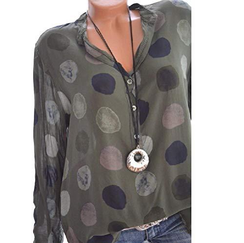 Shirt M Blouse T color Vert Longues Bleu Manches FuweiEncore et Tops Taille T5IBv