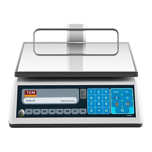TEM Balanza comercial con pantalla LED superior TEL015B1D-V2-B1 (calibrada, 6 kg/15 kg, 2g/5 g, Batería 40 h, Diversas funciones): Amazon.es