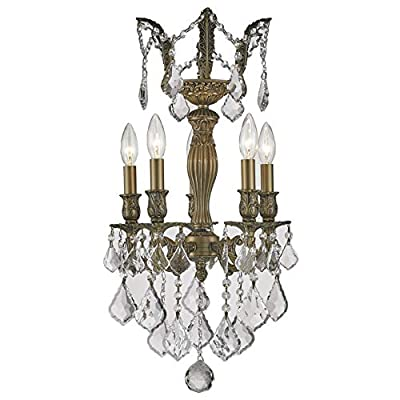 """Worldwide Lighting Versailles Collection 5 Light Antique Bronze Finish and Clear Crystal Chandelier 13"""" D x 23"""" H Mini"""