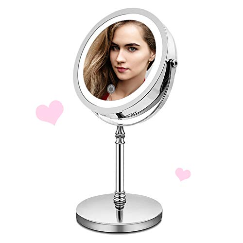 Magnifying Lighted Makeup Mirror, Double-Sided LED Vanity Mirror with Lights, 1X 10X -