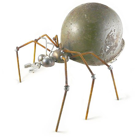 Army Ant – Recycled Metal Garden Sculpture with Vintage Army Helmet, Made in USA
