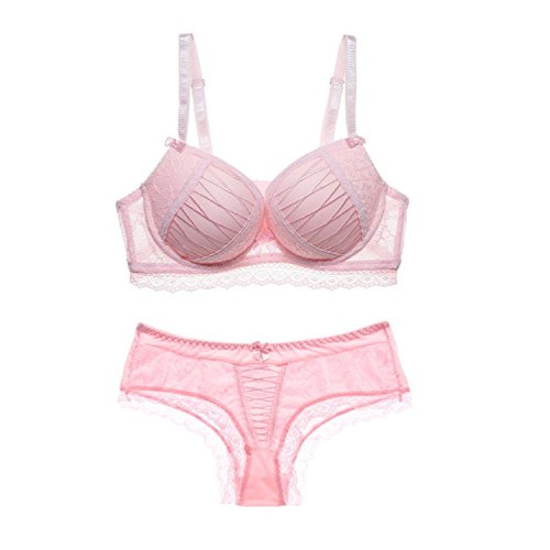 Dormery Sexy ABC Push up Women Bra Set Lace Hollow Out Underwear and Panty Set Young Lady Fashion Temptation Bra Brief Sets Pink 95B