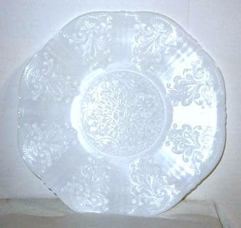 "Vintage Macbeth Evans Depression Glass Monax Opalescent White American Sweetheart Pattern 12"" Salver Plate"