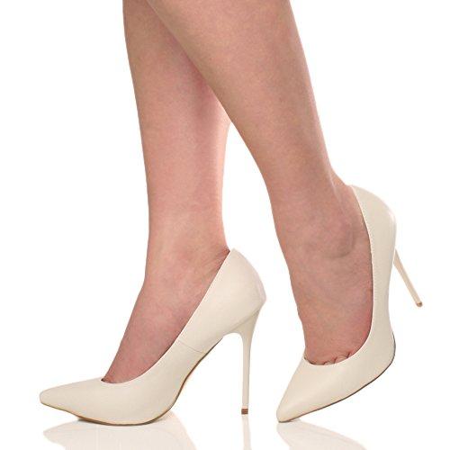 Fiesta Número Alto de Matte Afilada Mujeres Beige Señoras Nude Punta Salón Ajvani Contraste Talón Zapatos Elegante del Trabajo q16Ct7w