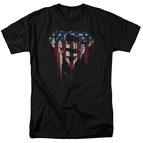 Superman Logo S Shield American Flag Paint T Shirt & Exclusive Stickers (X-Large)