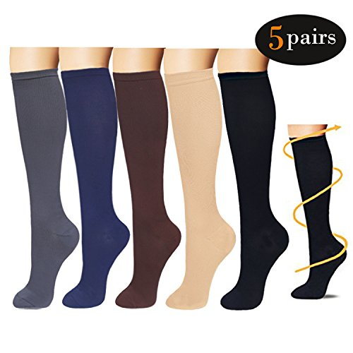 5Pairs Graduated Compression Socks Women