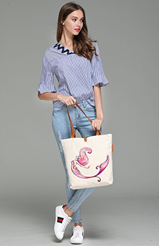 So'each Women's Colourful Mermaid Graphic Canvas Tote Shopper Shoulder Bag by So'each (Image #3)
