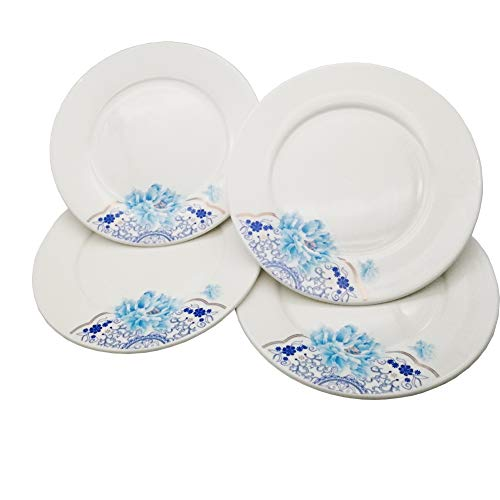 FINECASA New Bone China Thickened Dishes 10 inch Dinner/Steak Plates Chinese Style Blue Peony Series Set of 4