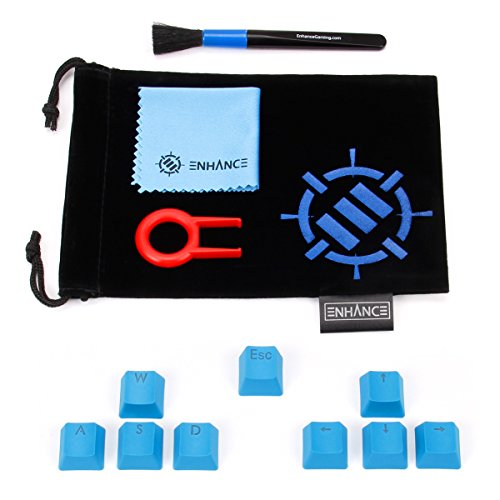 ENHANCE Doubleshot PBT Keycaps Set Gaming Upgrade Kit - Plastic Backlit Clear WASD Keycaps Compatible with Mechanical Switches - Keycap Puller, Dust Brush and Microfiber Cloth - Blue