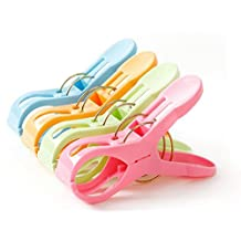 6PCS Large Plastic Clothing Clip Clothespin-Strong Beach Towel Clips Hanging Holders Hooks Drying Pegs for Socks/Towels/Underwear(Color Random)