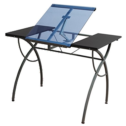 Offex Home Office Catalina Craft Table Pewter/Blue Glass by Offex