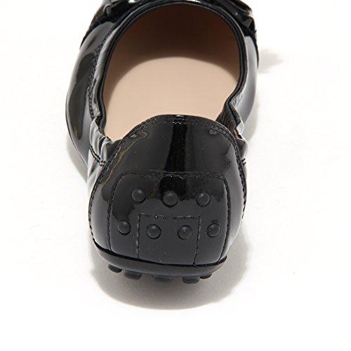 7922L ballerine donna nere TODS dee laccetto nappine scarpe shoes women Nero
