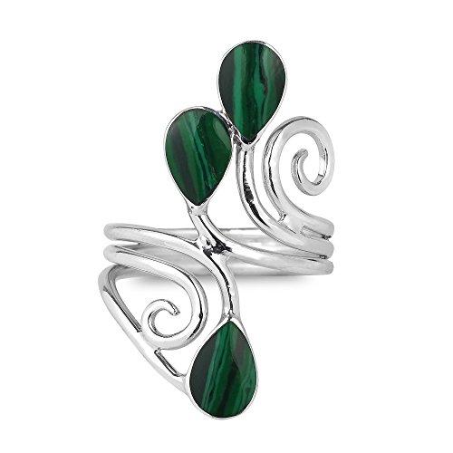 Floral Vine Ornate Teardrop Green Malachite Sterling Silver Ring (9) (Ornate Floral Ring)
