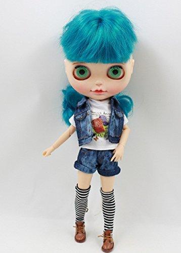 Set of Jeans West denim jacket T-shirt socks and jeans pants Cloth For Blythe Doll best gift 4 Pcs