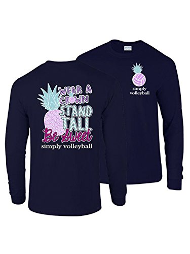 Volleyball T-shirt Sleeve Long (Simply Volleyball Pineapple Long Sleeve Tee, Small)