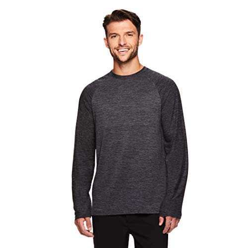 Gaiam Men's Long Sleeve Relaxed Fit T Shirt - Yoga & Workout Activewear Top - Champion Charcoal Heather, Medium
