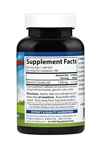 Carlson - C-Gel, 1000 mg Vitamin C, Immune Support & Heart Health, Antioxidant, 100 soft gels