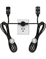 Twin Extension Cord Power Strip - 16 Foot Cord - 8 feet on Each Side - Flat Head (Wall Hugger) Outlet Plug - 6 Polarized Outlets with Safety Cover