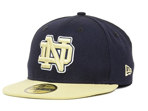 Notre Dame Fighting Irish NCAA New Era Youth 2 Tone 59FIFTY Fitted Navy/Gold Hat Cap (6 5/8)