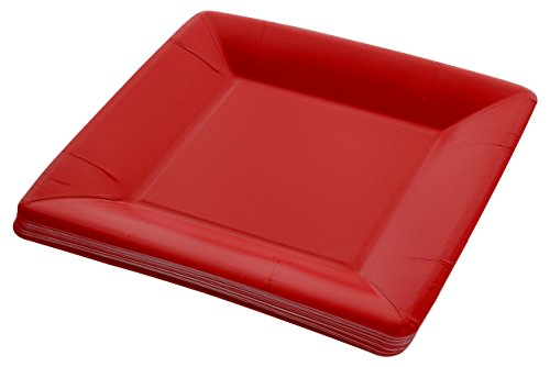 (Amcrate Red Disposable Party Paper Shimmer Square 7