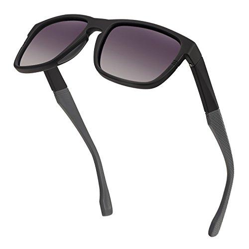 - Classic Wayfarer Polarized Sunglasses for Men Women Vintage Style Design Spring Hinges Driving Sun Glasses Retro TAC Lens UV Protection Eyewear (DoubleGrey Lens/MatteBlack Frame)