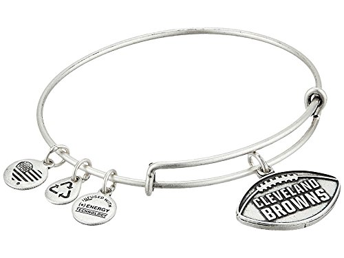 Alex and Ani Women's NFL Cleveland Browns Football Bangle Rafaelian Silver One Size