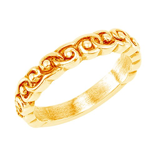 Antiqued Raised Design 3.8mm Stackable 14k Yellow Gold Ring, Size 7.25 by The Men's Jewelry Store (for HER)