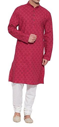 ShalinIndia Cotton Long Nehru Collar Indian Mens Kurta Shirt 3 pockets Magenta 46 by ShalinIndia