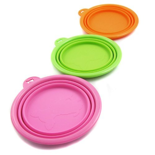PetIQ Silicone Pet Dog Expandable Collapsible Foldable Travel Bowl Dish Feeder - Color: Orange Green and Pink Set of 3