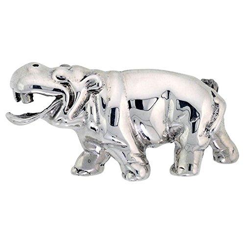 Revoni - Broche Femme - Argent massif - Hippopotame souriant