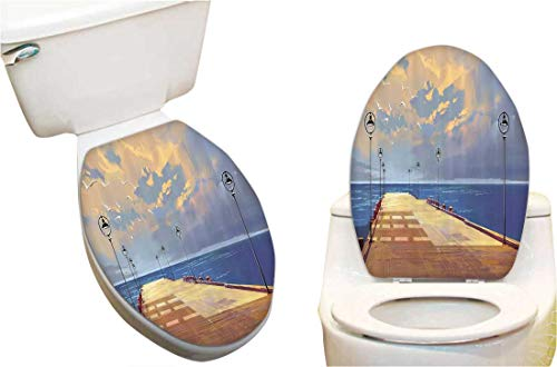 Toilet Seat Decal Wooden Bridge Pier to The Sea Harbor Bay Coast Cloudy with Gull Toilet Vinyl Decal 13