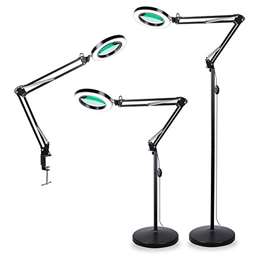TOMSOO 3-in-1 Magnifying Glass Floor Lamp with Clamp, White/Warm White Lighted Magnifier Lens - Adjustable Stand & Swivel Arm - Full Spectrum LED Light for Reading, Crafts, Professional Tasks ()