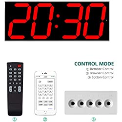 "West Ocean 6"" Digital Smart Large LED Wall Clock Jumbo Display with Remote Control/WiFi Control via Internet and Countdown Timer Multifunction"