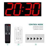 West Ocean 6' Digital Smart Large LED Wall Clock Jumbo Display with Remote Control/WiFi Control via Internet and Countdown Timer Multifunction