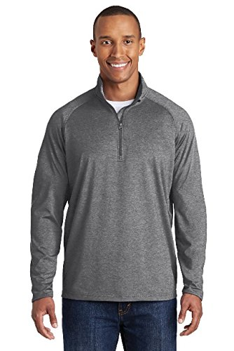 Sport-Tek Men's Sport Wick Stretch 1/2 Zip Pullover-Charcoal Grey Heather-XL