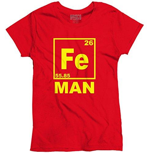 Brisco Brands Fe Iron Man Funny Shirt Cool Gift Idea Cute Nerd Geek Marvel Ladies T-Shirt (Womens Geek T-shirt Cut)