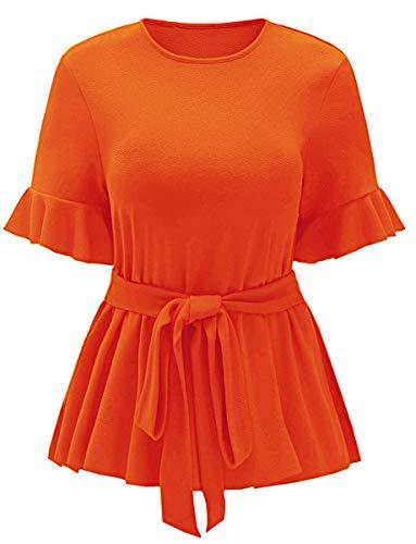 Romwe Women's Plus Size Raw Hem Ruffle Short Sleeve Belted Flare Peplum Blouse Top Orange 1XL